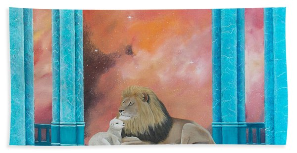 Lion And Lamb Hand Towel