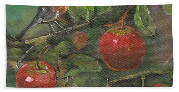 Little Bird In The Apple Tree Hand Towel