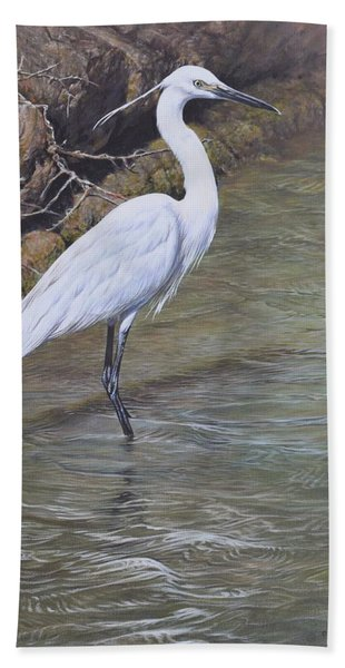 Little Egret Bath Towel