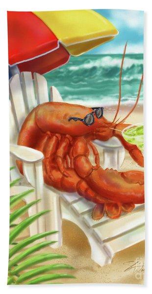 Lobster Drinking A Margarita Bath Towel
