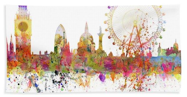 London Skyline Watercolor Bath Towel