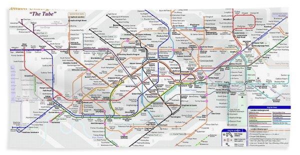 London Underground Map Bath Towel