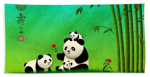 Longevity Panda Family Asian Art Hand Towel