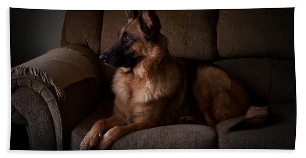 Looking Out The Window - German Shepherd Dog Bath Towel