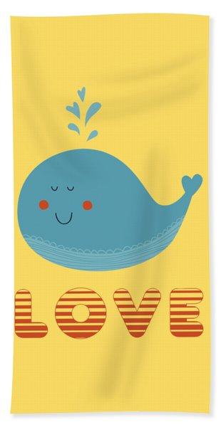 Love Whale Cute Animals Bath Towel