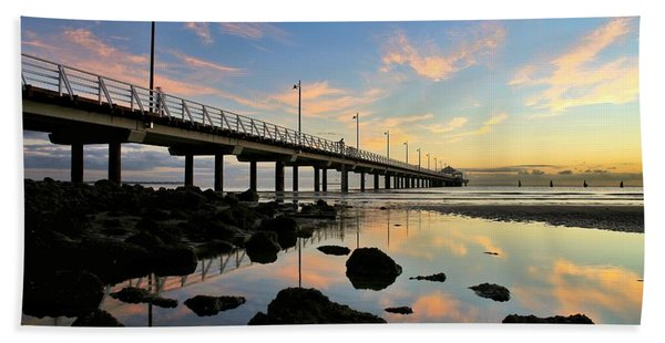Low Tide Reflections At The Pier  Hand Towel