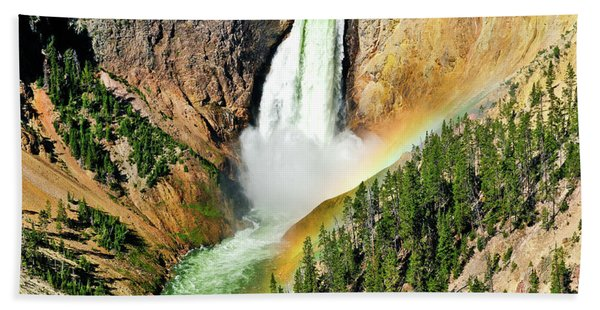 Bath Towel featuring the photograph Lower Falls Rainbow by Greg Norrell