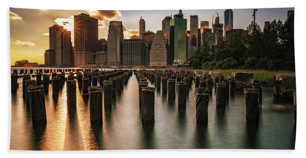 Lower Manhattan Sunset Twinkle Hand Towel