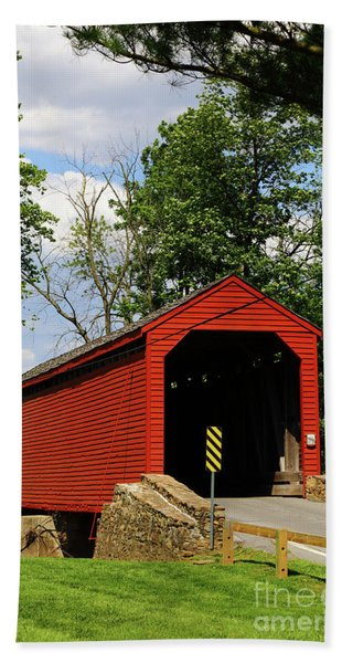 Loys Station Covered Bridge Near Thurmont Maryland Hand Towel