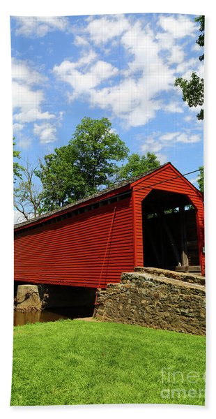 Loys Station Covered Bridge Old Frederick Road Maryland Hand Towel
