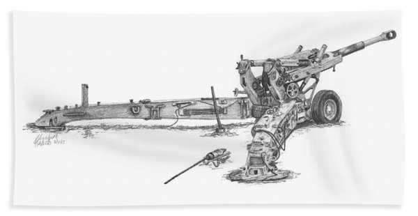 M198 Howitzer - Natural Sized Prints Hand Towel