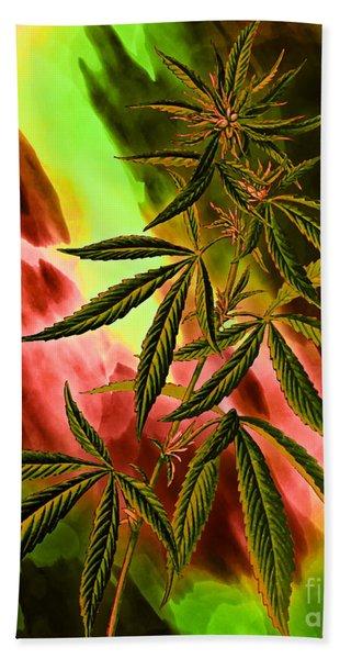 Marijuana Cannabis Plant Hand Towel