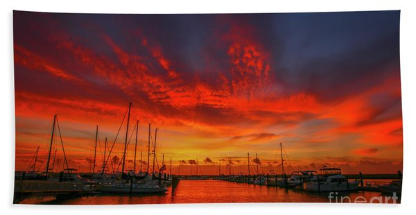 Bath Towel featuring the photograph Marina Sunrise - Ft. Pierce by Tom Claud