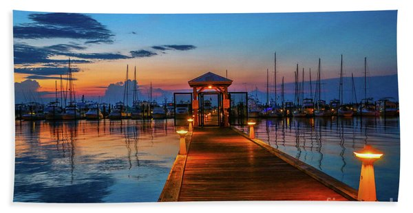 Bath Towel featuring the photograph Marina Sunrise by Tom Claud
