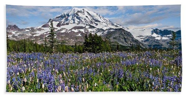 Meadow Of Lupine Near Mount Rainier Bath Towel