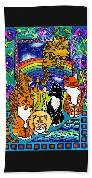 Meet Me At The Rainbow Bridge - Cat Painting Bath Towel