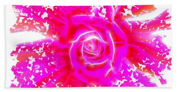 Melting Pink Rose Fractalius Bath Towel