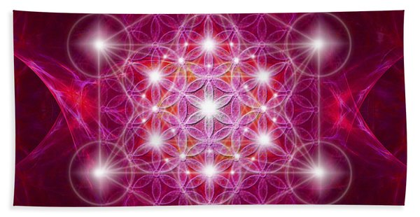 Metatron Cube With Flower Hand Towel