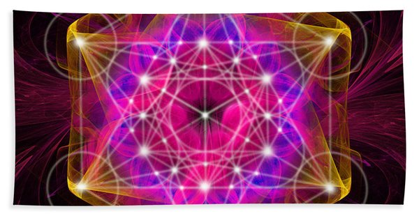 Metatron's Cube With Flower Of Life Hand Towel