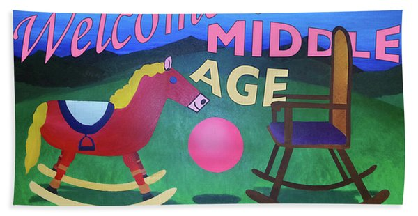 Middle Age Birthday Card Hand Towel