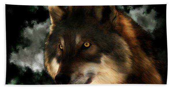 Midnight Stare - Wolf Digital Painting Hand Towel