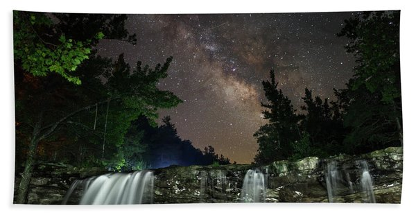 Milky Way Over Falling Waters Hand Towel