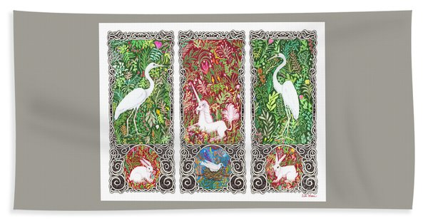 Millefleurs Triptych With Unicorn, Cranes, Rabbits And Dove Hand Towel