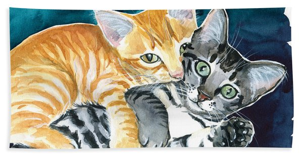 Milo And Tigger - Cute Kitty Painting Bath Towel