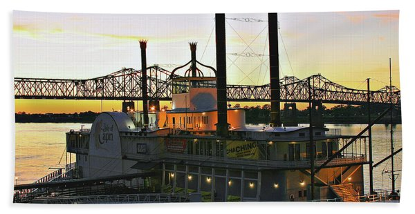 Mississippi Riverboat Sunset Hand Towel