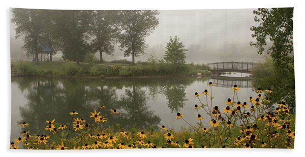 Bath Towel featuring the photograph Misty Pond Bridge Reflection #3 by Patti Deters