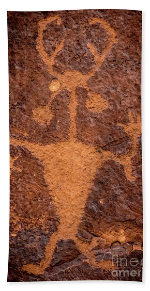 Moab Man Petroglyph Portrait - Utah Hand Towel