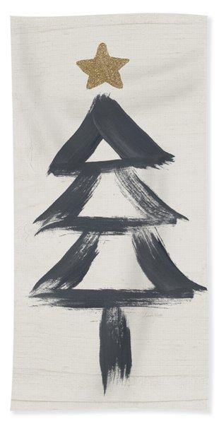 Modern Primitive Black And Gold Tree 2- Art By Linda Woods Bath Towel