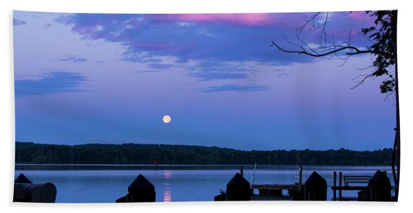 Moon And Pier Hand Towel