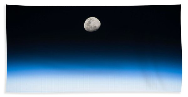 Moon Rise From The Space Station By Nasa Hand Towel