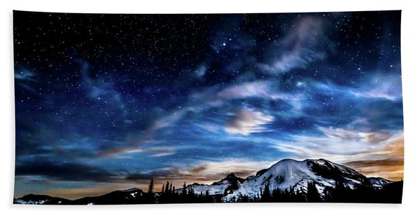 Moon Setting Behind Mt Rainier  Hand Towel