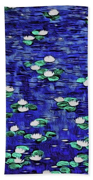 Moonlit Nymphaea Bath Towel