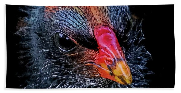 Bath Towel featuring the digital art Moorhen Chick by Larry Linton