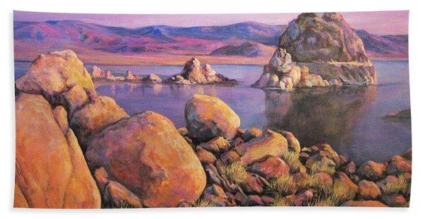Morning Colors At Lake Pyramid Hand Towel
