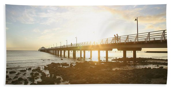 Morning Sunshine At The Pier  Hand Towel
