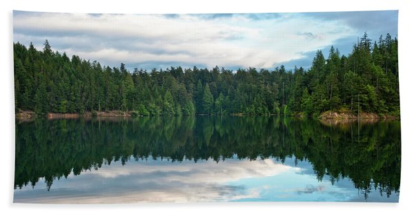 Mountain Lake Reflection Bath Towel