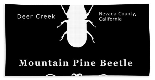Mountain Pine Beetle White On Black Hand Towel
