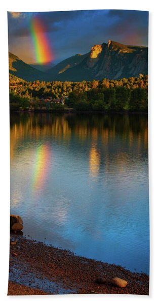 Hand Towel featuring the photograph Mountain Rainbows by John De Bord