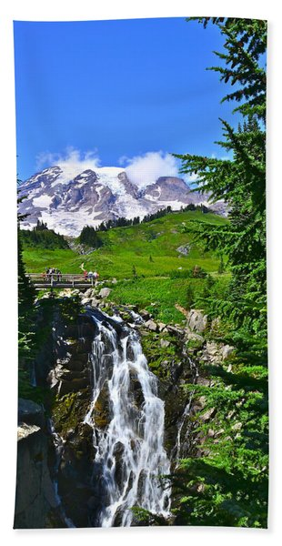 Mt. Rainier From Myrtle Falls Hand Towel