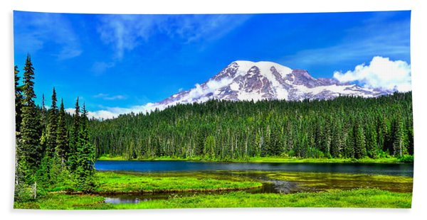 Mt. Rainier From Reflection Lakes Bath Towel
