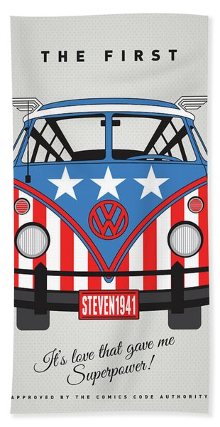 My Superhero-vw-t1-cap America Bath Towel