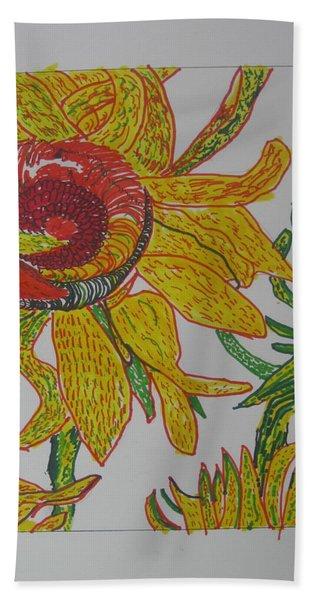 My Version Of A Van Gogh Sunflower Bath Towel