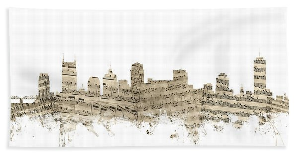 Nashville Tennessee Skyline Sheet Music Hand Towel
