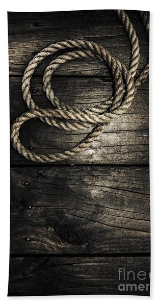 Nautical Rope On Boat Deck. Maritime Knots Bath Towel