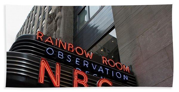 Bath Towel featuring the photograph Nbc Studio Rainbow Room Sign by Lorraine Devon Wilke