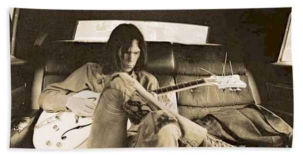 Neil Young In The Backseat Hand Towel